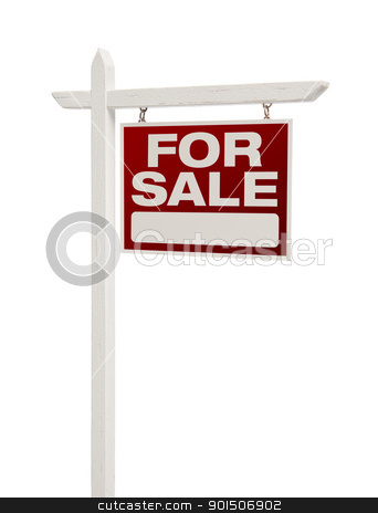 For Sale Real Estate Sign Isolated - Right stock photo, For Sale Real Estate Sign Isolated on a White Background - Facing Right. by Andy Dean