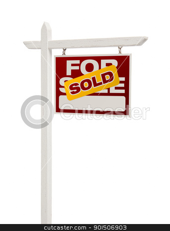 Sold For Sale Real Estate Sign Isolated - Right stock photo, Sold For Sale Real Estate Sign Isolated on a White Background - Facing Right. by Andy Dean