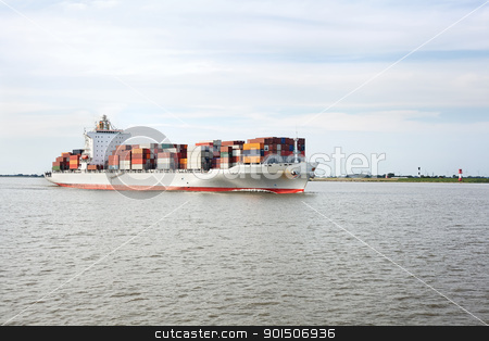 Container ship on river Elbe stock photo, Container ship on river Elbe, Germany by iMarin