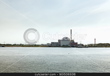 Nuclear plant near river stock photo, Nuclear plant near river in Stade, Germany by iMarin