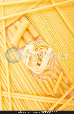 Different kinds of italian pasta  stock photo, Different kinds of italian pasta on the wooden background   by Morozova Oxana