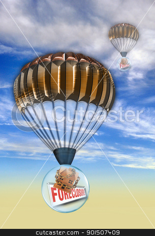 Housing bubble stock photo, Home prices falling on homes. by WScott