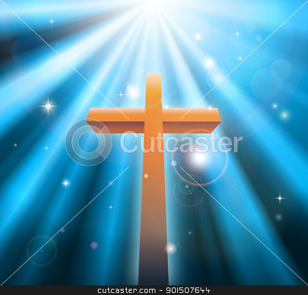 Christian religion cross stock vector clipart, Christian religion cross crucifix bathed in light rays by Christos Georghiou