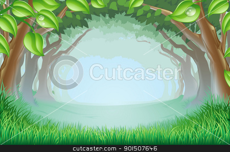 Beautiful woodland scene stock vector clipart, A beautiful woodland scene with trees and grass and space in the centre by Christos Georghiou
