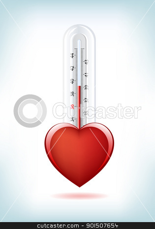 Love Thermometer stock vector clipart, This image is a vector file representing a 3d Heart Thermometer,  all the elements can be scaled to any size without loss of resolution. by Bagiuiani Kostas