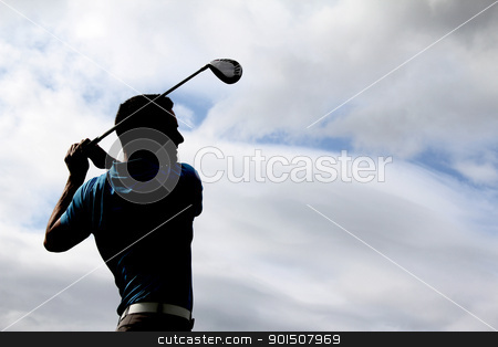 Young golfer stock photo, Young golfer driving with a wood against cloudy skies by Vanessa Van Rensburg