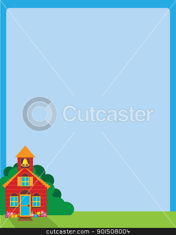School House stock vector clipart, A blue sky background, with a colorful school house set in the lower left corner, on a patch of green grass and foliage. by Maria Bell