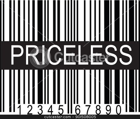 upc Code Priceless stock vector clipart, A typical black and white upc code, with a broad band of black displaying the word,