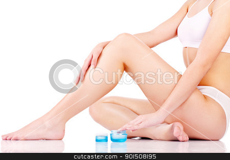 woman legs stock photo, Legs cosmetic treatment, isolate on white background by iMarin