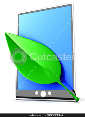 Eco Tablet PC stock photo, A ecologic Tablet PC / Pad. 3D rendered illustration. Isolated on white. by Michael Osterrieder