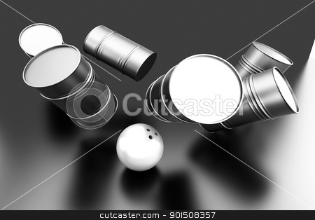 Petroleum Bowling stock photo, Bowling with oil Barrels. 3D rendered illustration.  by Michael Osterrieder