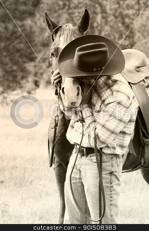 Cowboy stock photo, Cowboy with his horse in the field  by Vanessa Van Rensburg