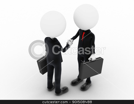3d business people shaking hands over a deal stock photo, 3d business people shaking hands over a deal by dacasdo