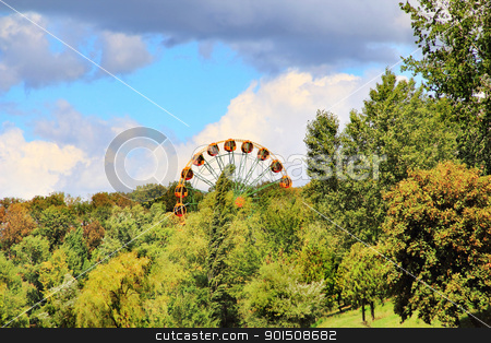 Image with wheel review stock photo, Image with park of amusement and wheel review by Julialine