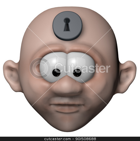 mind locked up stock photo, man with keyhole in his forehead - 3d illustration by J?