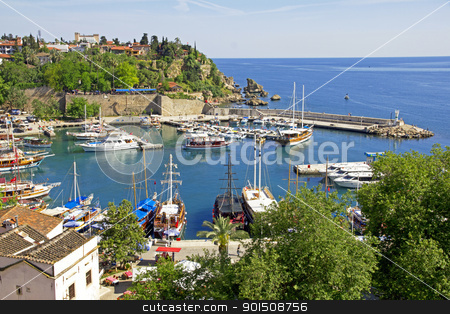 Turkey. Antalya town.Harbor stock photo, Turkey. Antalya town. Beautiful view of harbor with yachts by Morozova Oxana