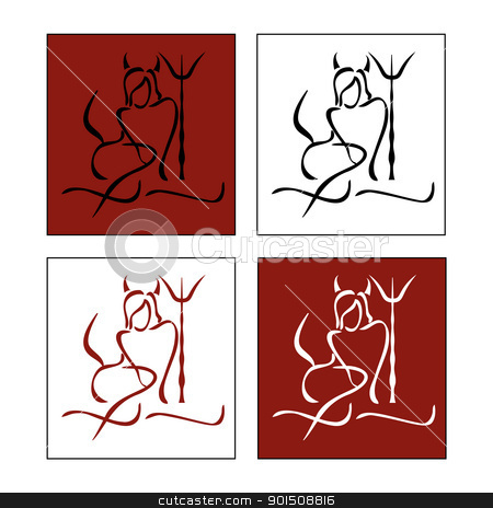 silhouette of woman Devil stock vector clipart, silhouette of woman Devil on various background  by Artush