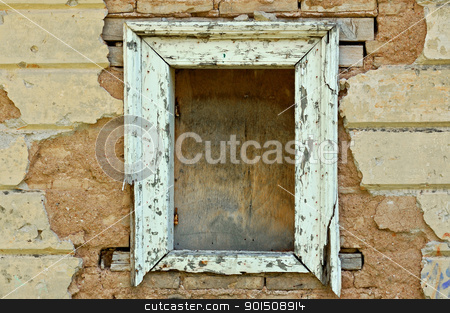 empty window frame grunge background texture stock photo, Empty wooden window frame and chipped wall texture. Grunge background. by sirylok