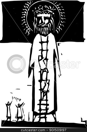 Ladder to God stock vector clipart, People climbing a ladder to reach the top of giant Jesus icon. by Jeffrey Thompson