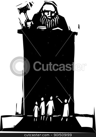 Judge stock vector clipart, Woodcut style judge sitting atop his bench with crowd in front. by Jeffrey Thompson