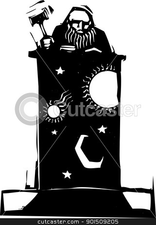 Judge and Night Sky stock vector clipart, Woodcut style judge sitting atop his bench with the image of night sky by Jeffrey Thompson