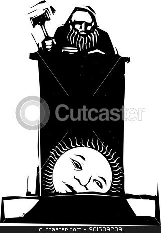 Judge and Rising Sun stock vector clipart, Woodcut style judge sitting atop his bench with rising sun by Jeffrey Thompson