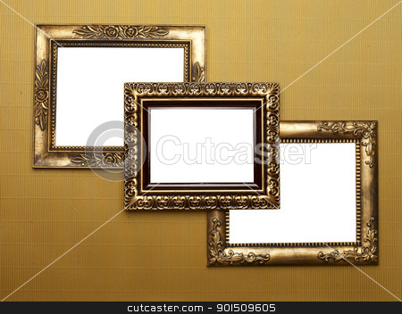 Three Old Picture Frames stock photo, Three Old Picture Frame On Gold Patern, Design Element by Adam Radosavljevic
