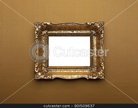 Old Gold Picture Frame stock photo, Old Picture Frame Isolated On White Background, Design Element by Adam Radosavljevic