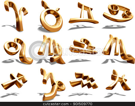 12 signs of the 3D Zodiac in Gold stock photo, 3D Zodiac signs Aries on white background by Adam Radosavljevic