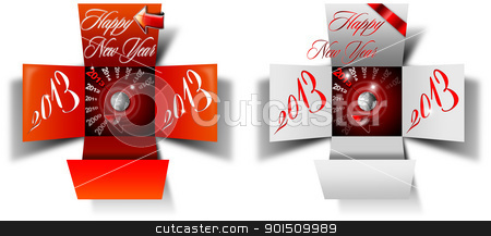 2013 Happy New Year Box stock photo, Two open box with timer and written happy new year 2013 on white background  by catalby