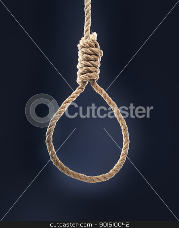 Noose stock photo, Rope noose with hangman's knot hanging in front of blue background. by Stocksnapper