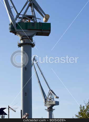 big cranes stock photo, big cranes in the shipyard by nevenm