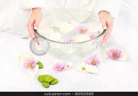 Preparing petal bath stock photo, Woman's hands and petal bath by iMarin