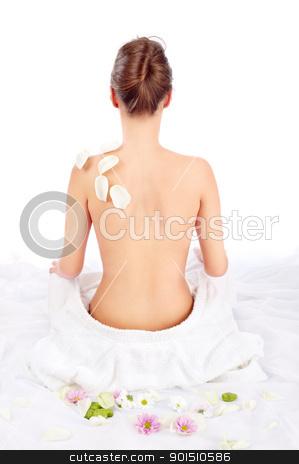 Sexy back of beautiful girl stock photo, Sexy back of beautiful girl on white by iMarin