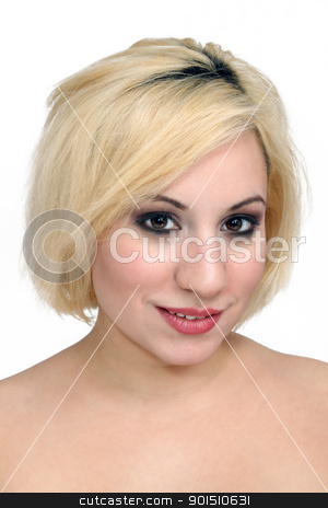 Beautiful Blonde Headshot (1) stock photo, A studio close-up of a beautiful young blonde. by Carl Stewart