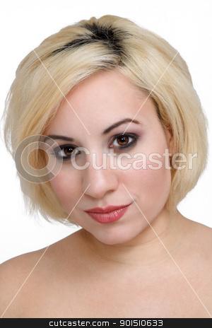 Beautiful Blonde Headshot (3) stock photo, A studio close-up of a beautiful young blonde. by Carl Stewart