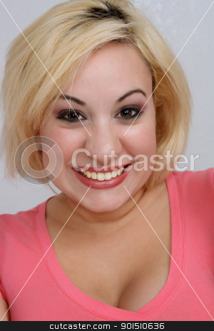 Beautiful, Gleeful Blonde stock photo, A studio close-up of a beautiful young blonde with an excited or gleeful facial expression. by Carl Stewart