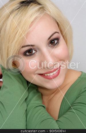 Beautiful Blonde Headshot (5) stock photo, A studio close-up of a beautiful young blonde. by Carl Stewart