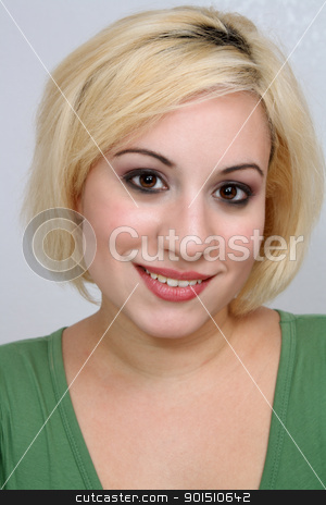 Beautiful Blonde Headshot (6) stock photo, A studio close-up of a beautiful young blonde. by Carl Stewart