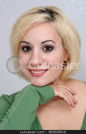 Beautiful Blonde Headshot (7) stock photo, A studio close-up of a beautiful young blonde. by Carl Stewart