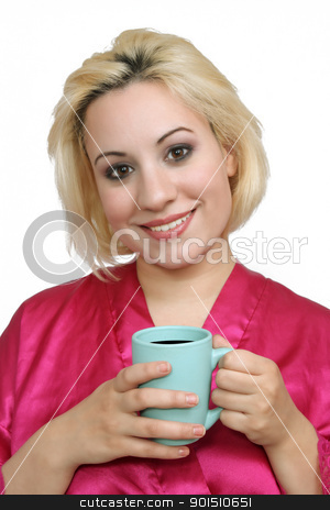 Beautiful Blonde with Coffee (1) stock photo, A lovely young blonde with a captivating smile, wearing a bathrobe and holding a cup of coffee. by Carl Stewart