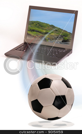 Soccer stock photo, Soccer and Computer by WScott