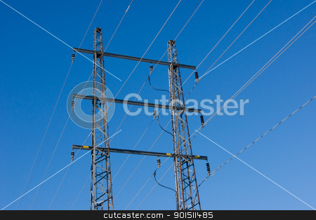 Power wire with blue sky stock photo, Power wire pylon against clear blue sky. by Leif Klasson