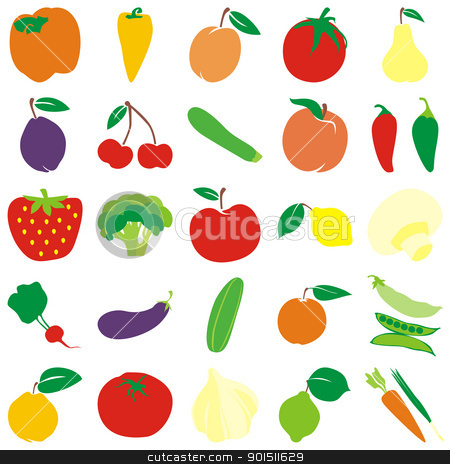 vector fruits and vegetables stock vector clipart, fully editable vector fruits and vegetables with details ready to use by pilgrim.artworks
