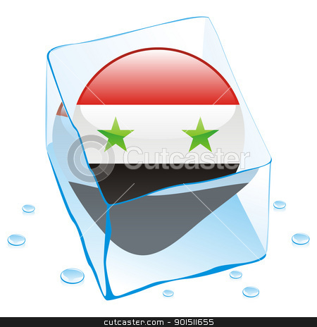 syria button flag frozen in ice cube stock vector clipart, fully editable vector illustration of syria button flag frozen in ice cube by pilgrim.artworks