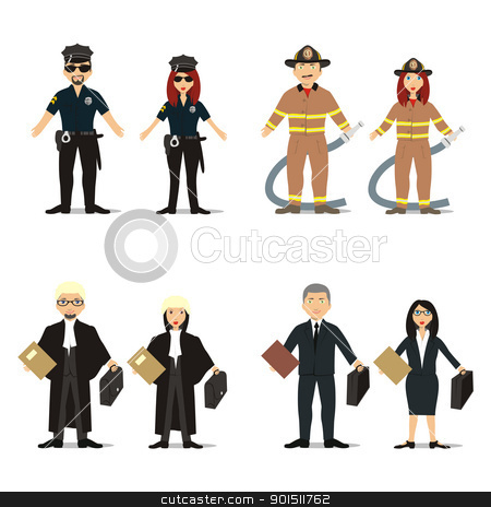 isolated people with different occupations stock vector clipart, fully editable vector illustration of isolated people with different occupations by pilgrim.artworks