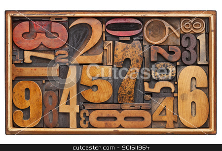 antique wood number abstract stock photo, number abstract - random vintage wood letterpress printing blocks in a wooden box isolated on white by Marek Uliasz