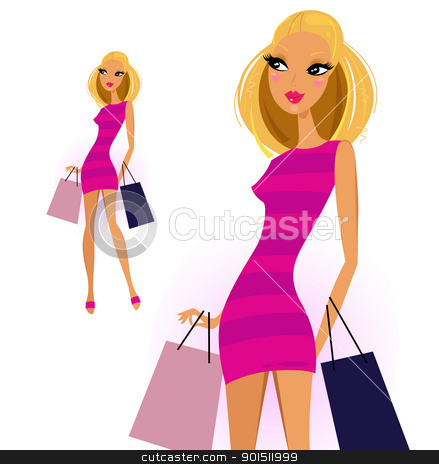 Blond woman with shopping bags isolated on white background stock vector clipart, Cute blond shopper girl isolated on white. Vector Illustration by BEEANDGLOW