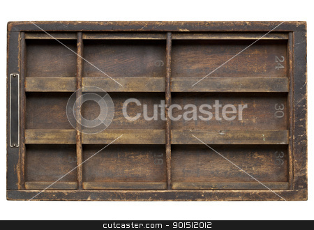 vintage grunge wood printer drawer stock photo, vintage wood  printer  (typesetter) drawer with dividers, isolated on white by Marek Uliasz