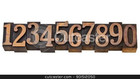 numbers from zero to nine  stock photo, ten arabic numerals zero to nine in isolated vintage wood letterpress printing blocks by Marek Uliasz